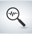 heartbeat in magnifying glass icon cardiology vector image