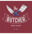 logo butcher meat shop with cleaver and chefs vector image