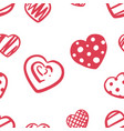 love heart doodle patern -hand draw vector image vector image