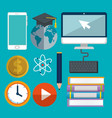 on line education set icons vector image