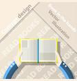 read books open book in hands flat design vector image vector image