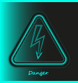 realistic neon high voltage sign turquoise modern vector image