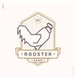 rooster linear logo vector image vector image