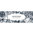 seafood and wine banner design shellfish frame vector image vector image