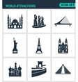Set of modern icons World attractions vector image