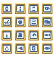shop navigation foods icons set blue vector image vector image