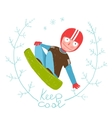 Snowboard Funky Free Rider Jumping Colorful vector image
