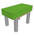 table with green brick on white background vector image vector image