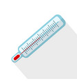 thermometer flat icon with long shadow on white vector image vector image