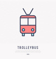 trolleybus thin line icon front view vector image