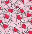 valentines hearts on envelopes seamless background vector image vector image