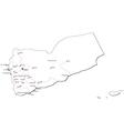 Yemen Black White Map