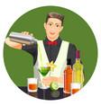 male bartender making cocktail flat vector image
