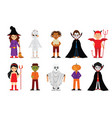 set of halloween cartoon characters vector image