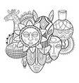 African tribal art print with masks