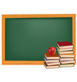 back to school green desk apple vector image vector image