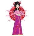 Beautiful japanese geisha girl in kimono vector image vector image