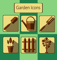 Brown gardening icons set over a green background vector image
