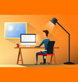 business man sitting desk office working place vector image