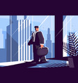 businessman in suit with briefcase vector image vector image