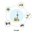 canadian colored hand drawn doodle icons set vector image