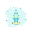 cartoon colored rocket icon in comic style space vector image vector image
