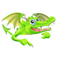 cartoon dragon pointing down vector image