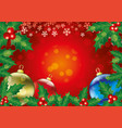 christmas balls and holly leaves with berries vector image vector image