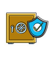 color strong box object with shield security vector image vector image