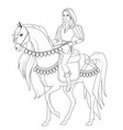 coloring book prince on the horse vector image vector image