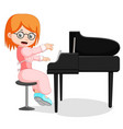 cute little girl cartoon playing piano vector image vector image