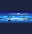 deserted landscape at night vector image vector image