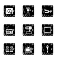 Electronic devices icons set grunge style vector image vector image