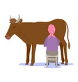 farmer milking a cow isolated vector image