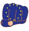 Flag of the europe on fist vector image vector image