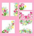 Floral templates with cute bunches of red tulips vector image vector image