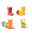 fruit juices in a glass vector image vector image