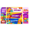 giveaway colorful banners giving gifts present vector image vector image