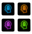 glowing neon male head with low battery icon vector image vector image