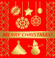 greeting card merry christmas vintage gold vector image vector image