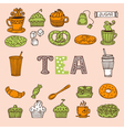 Hand drawn tea and desserts Tea time vector image
