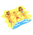 happy family lying on the beach and sunbathing on vector image
