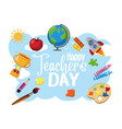 happy world teachers day logo with student items vector image vector image