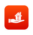 house in hand icon digital red vector image vector image