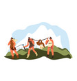 hunting people stone age walking with animals vector image vector image