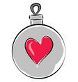 light grey christmas ball with pink heart on vector image