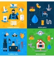 Plumber Service 4 Flat Icons Square vector image vector image