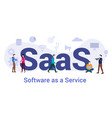 saas software as a service concept with big word vector image vector image
