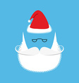 Santa mustache and beard Christmas hat Set for vector image