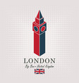schematic drawing of the big ben and english flag vector image